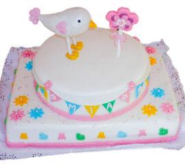 torta baby shower pajarito dos pisos caprichitos dulces